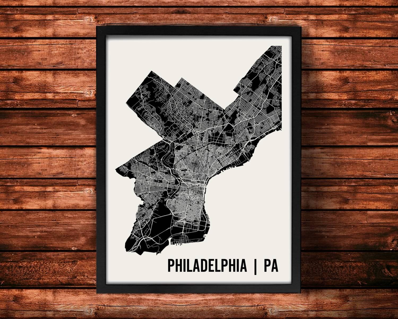 Philadelphia Map Art Print Philadelphia Print Philadelphia With 2017 Philadelphia Map Wall Art (View 11 of 20)
