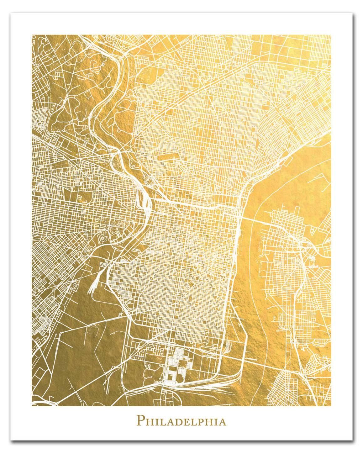 Philadelphia Map Philadelphia Gold Foil Map™ Print Gold Regarding Current Philadelphia Map Wall Art (View 10 of 20)