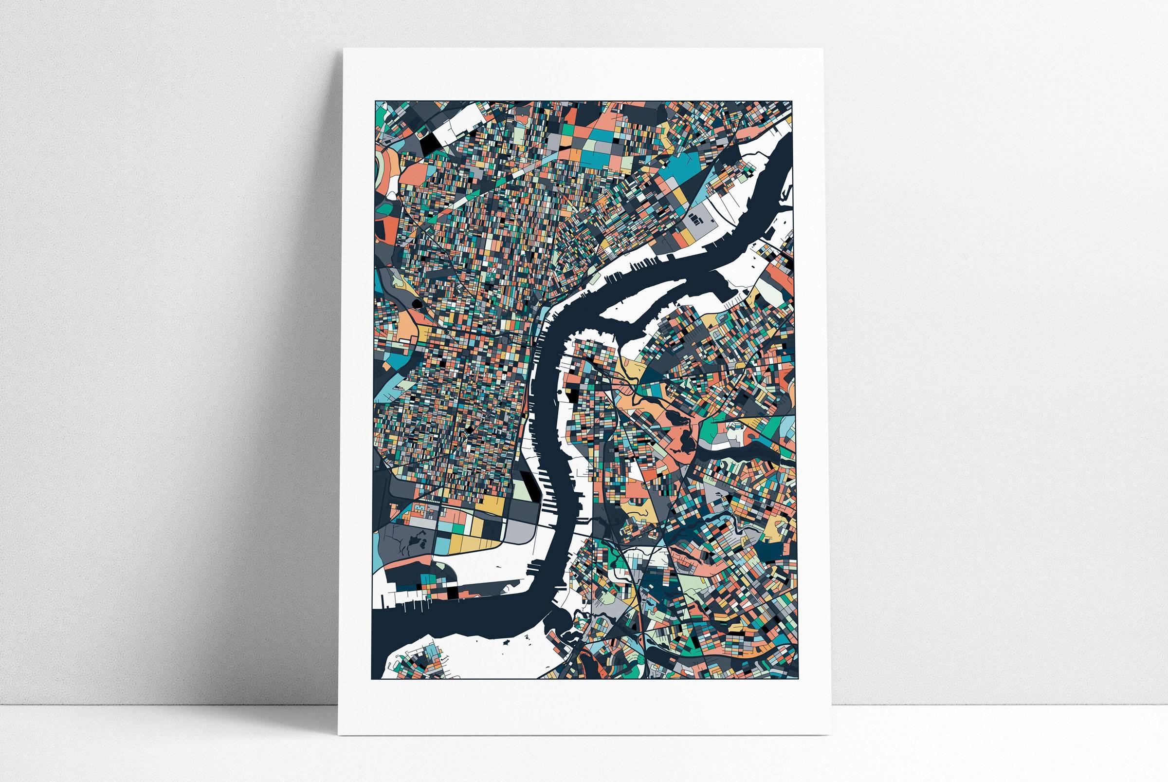 Philadelphia Map Philadelphia Print Philly City Map Philly Throughout 2017 Philadelphia Map Wall Art (View 15 of 20)