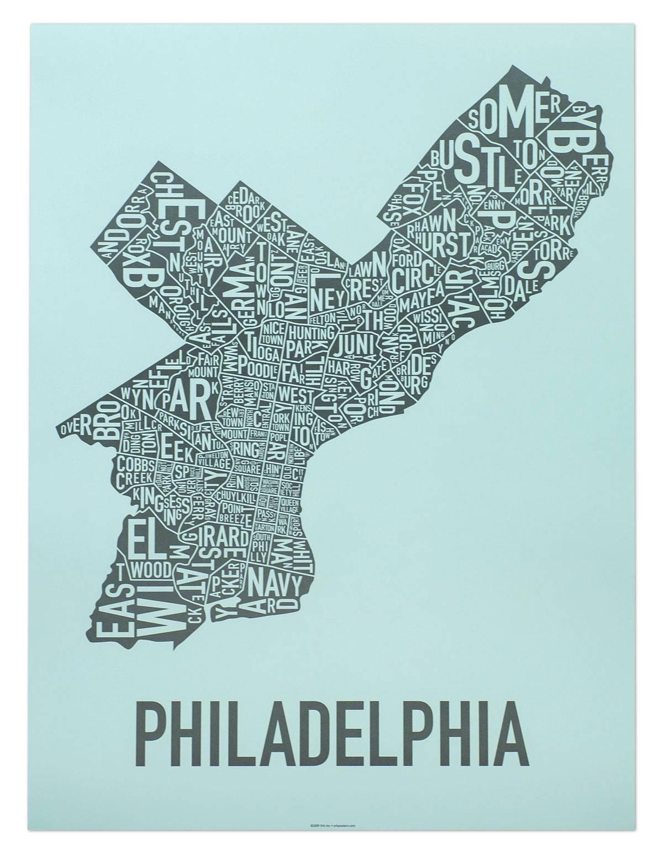 "Philadelphia Neighborhood Map 18"" X 24"" On The Streets Of Poster Inside 2017 Philadelphia Map Wall Art (View 11 of 20)"