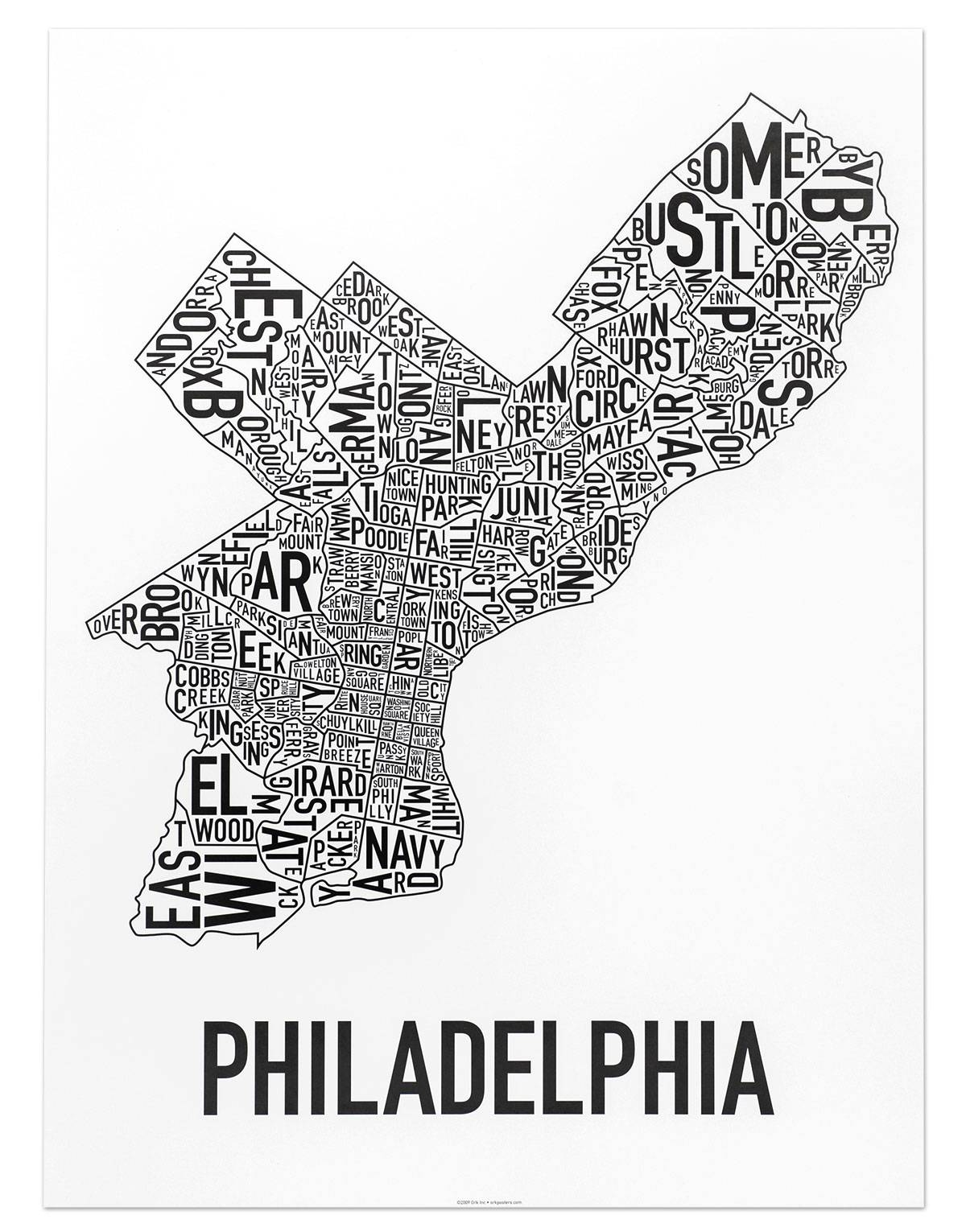 Philadelphia Neighborhoods Map Posters & Prints – Modern Decor Or In Most Recent Philadelphia Map Wall Art (View 17 of 20)