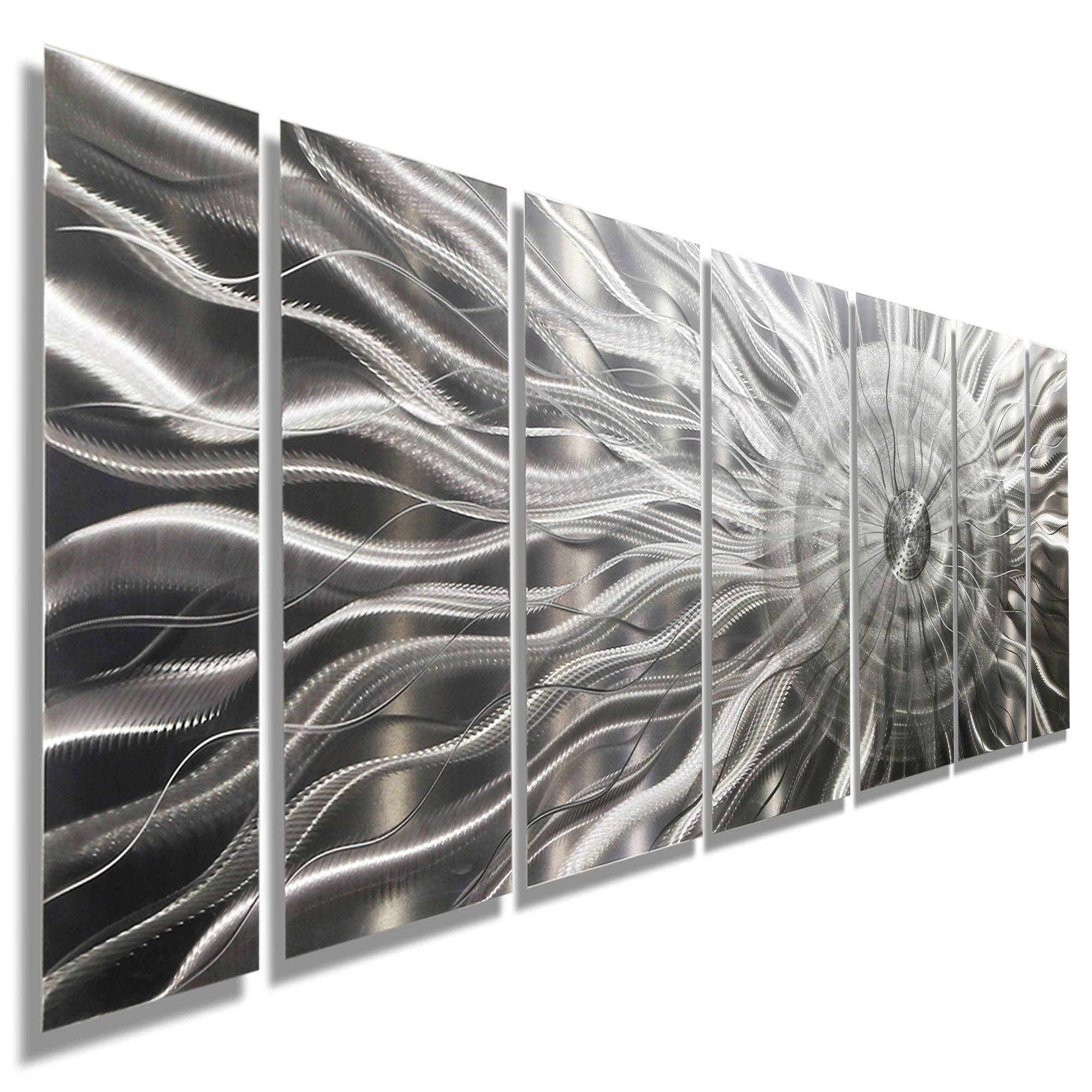 Photon Xl – Extra Large Modern Abstract Silver Corporate Metal Inside Recent Etched Metal Wall Art (View 2 of 20)