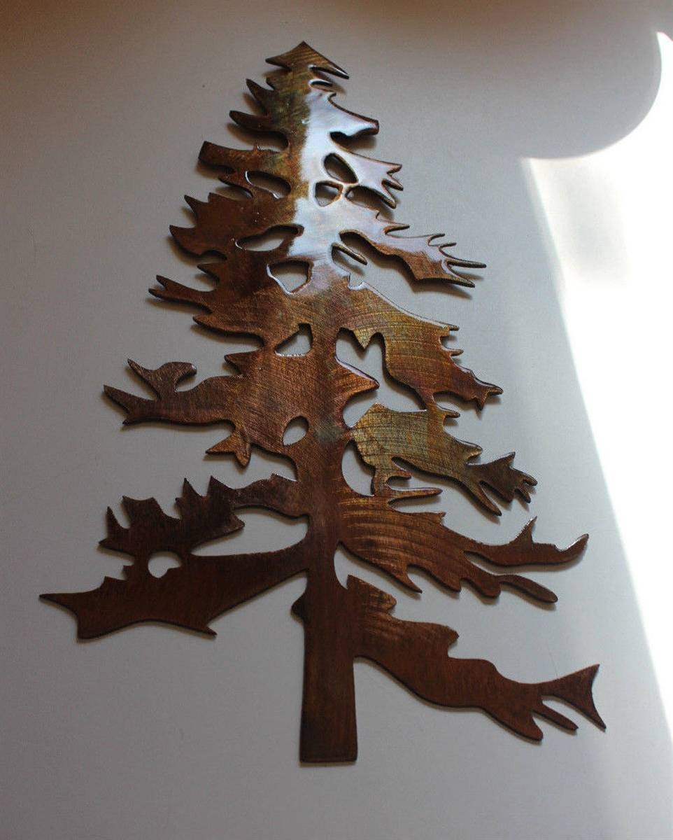 Pine Tree 2 Metal Wall Art Decor Inside Recent Metal Wall Art Trees (View 8 of 20)