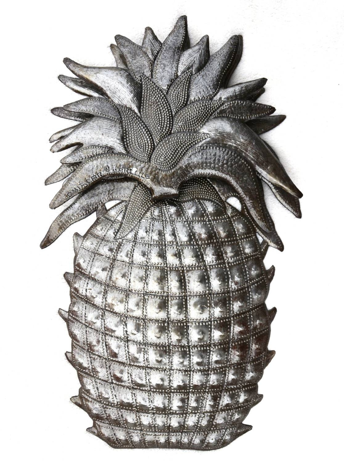 Pineapple, Welcome Home Wall Decor, Recycled Haitian Metal Steel Pertaining To Recent Pineapple Metal Wall Art (View 5 of 20)