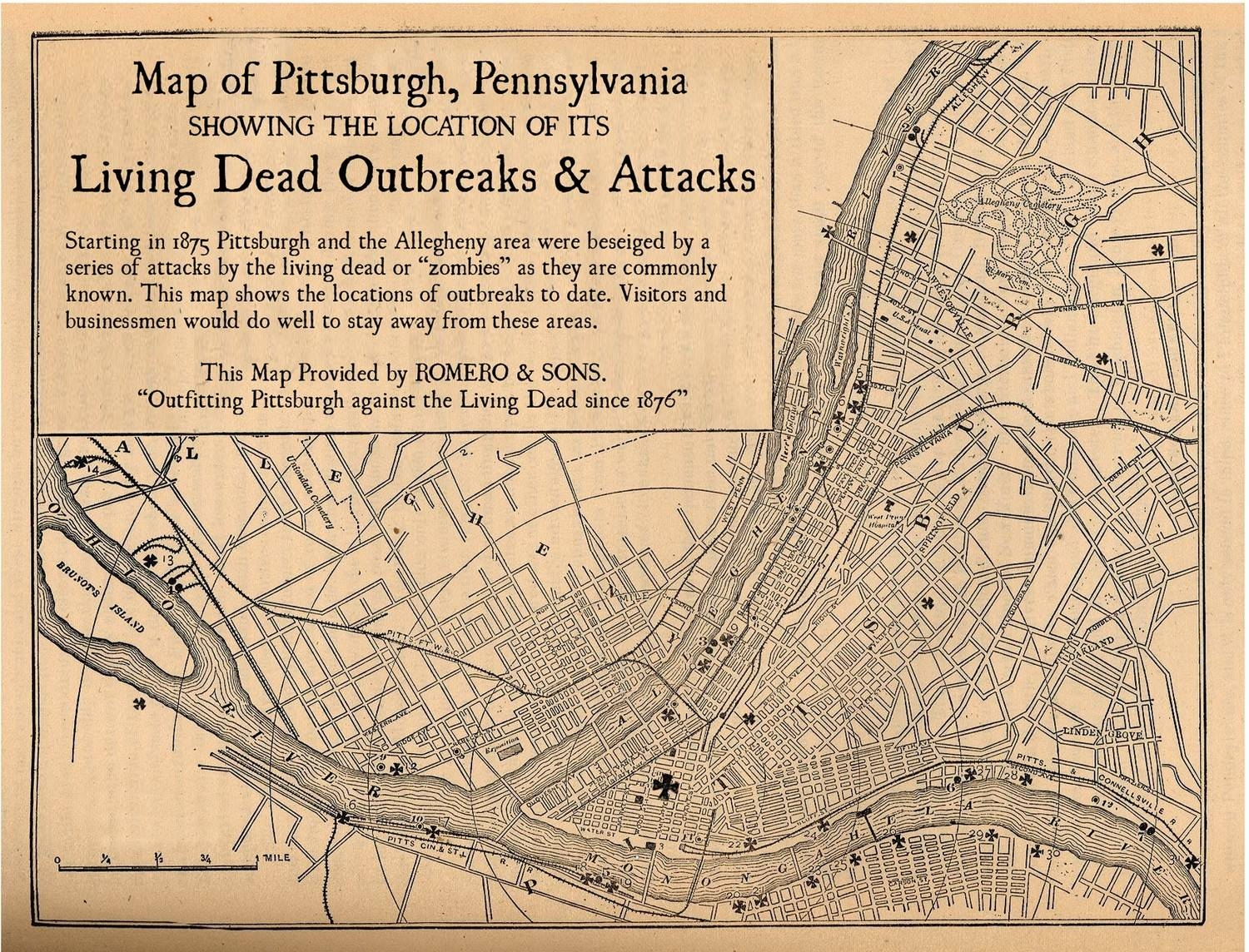 Pittsburgh Map Zombie Art Digital Print Vintage Map Night Of Within Best And Newest Pittsburgh Map Wall Art (View 17 of 20)
