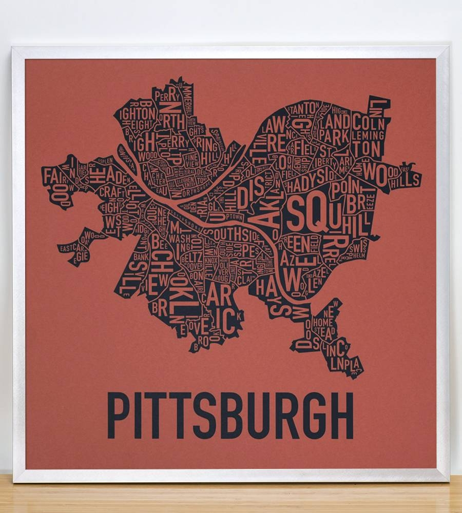 "Pittsburgh Neighborhood Map 18"" X 18"" Whiskey Rebellion Screenprint With Regard To Newest Pittsburgh Map Wall Art (View 3 of 20)"