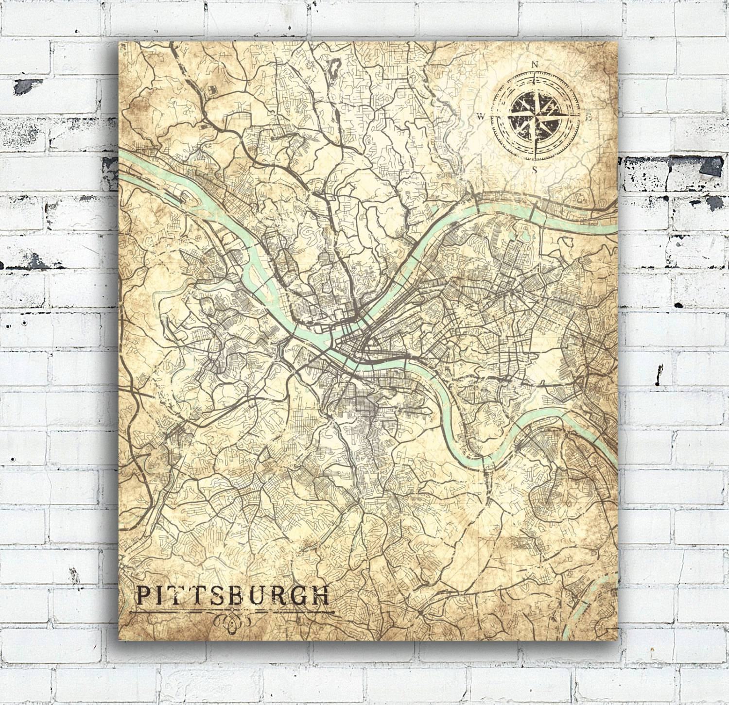 Pittsburgh Pa Canvas Print Pennsylvania Vintage Map Pittsburgh Intended For Most Up To Date Pittsburgh Map Wall Art (View 14 of 20)