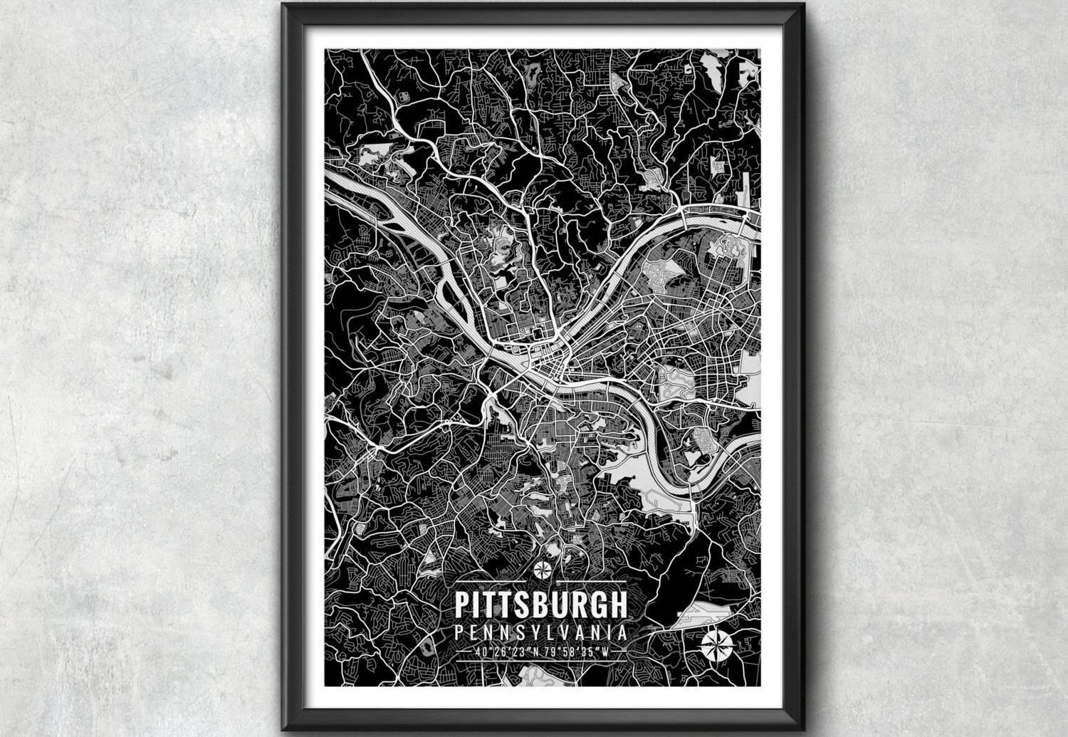 Pittsburgh Pennsylvania Map With Coordinates Pittsburgh Wall Intended For Most Up To Date Pittsburgh Map Wall Art (View 2 of 20)