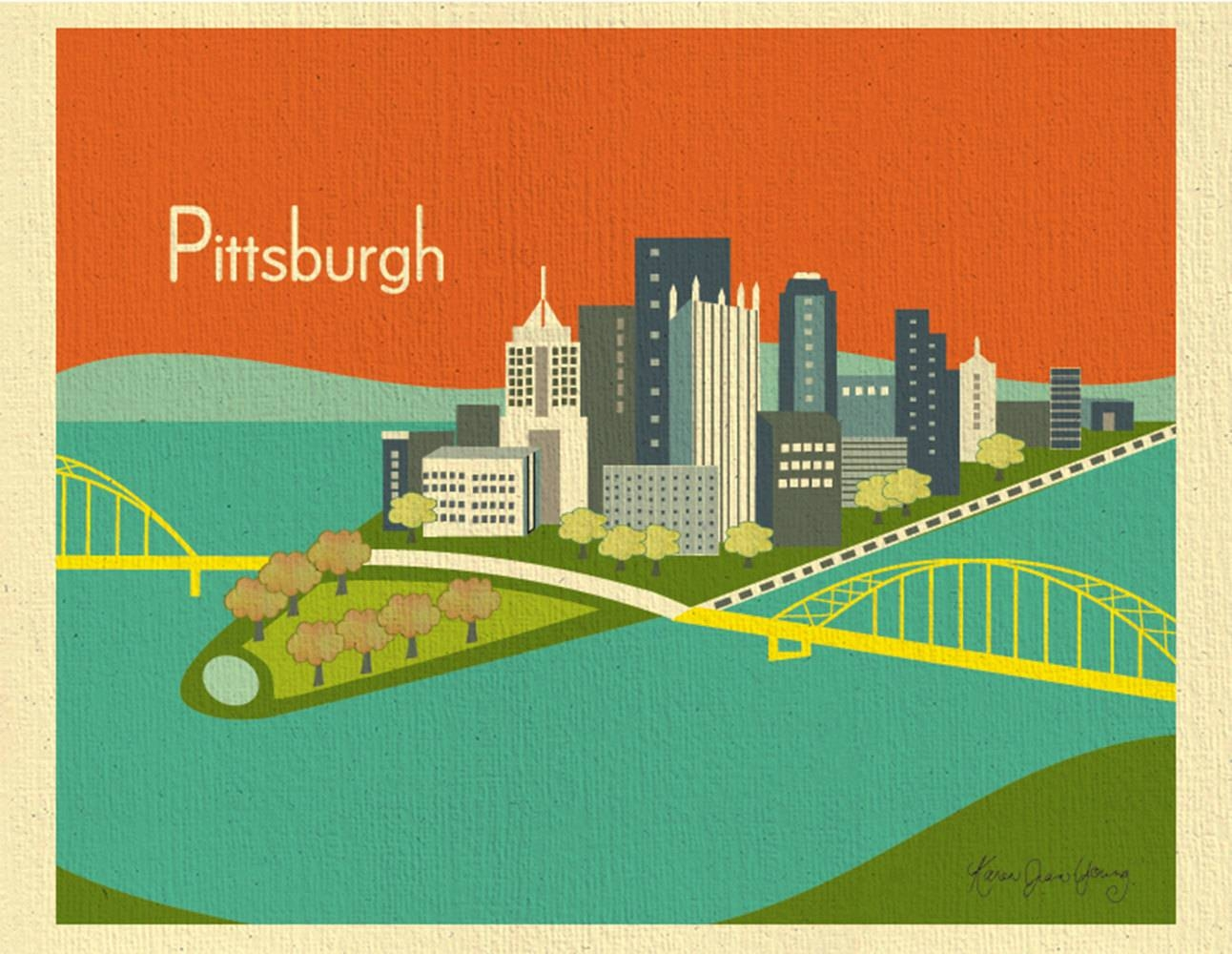 Pittsburgh Skyline Print Pittsburgh Wall Art Pittsburgh For Latest Pittsburgh Map Wall Art (View 16 of 20)
