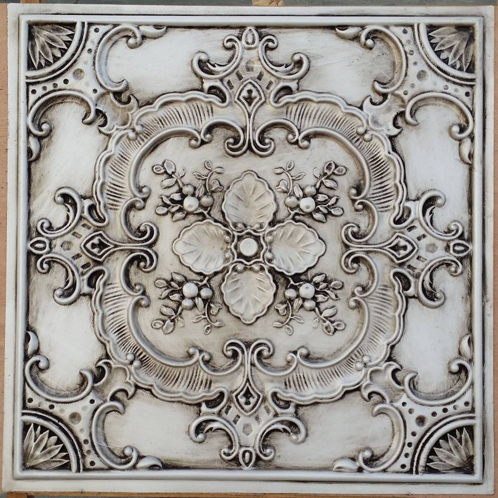 Pl19 Faux Pressed Tin Finishes Ceiling Tiles Antique White Color Inside Current Faux Metal Wall Art (View 14 of 20)