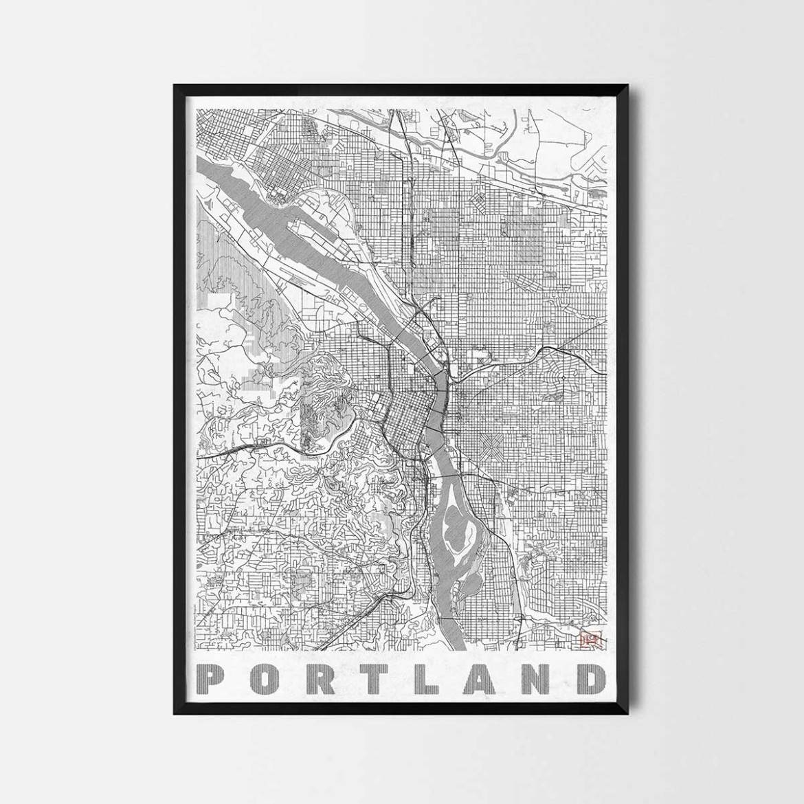 Portland Gift – Map Art Prints And Posters, Home Decor Gifts For Most Current Portland Map Wall Art (View 5 of 20)