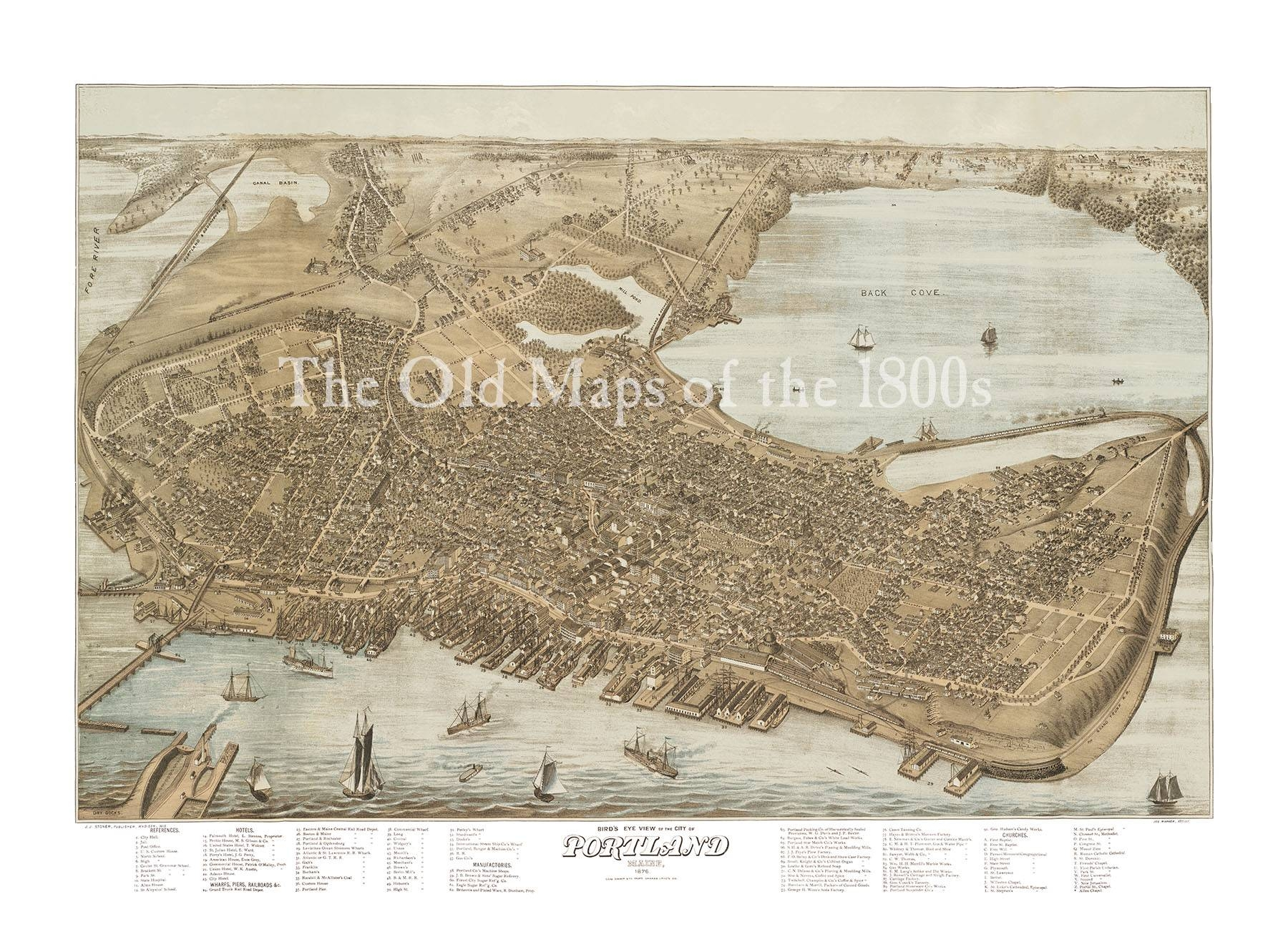 Portland, Maine In 1876 – Bird's Eye View Map, Aerial, Panorama With Regard To Most Popular Portland Map Wall Art (View 8 of 20)