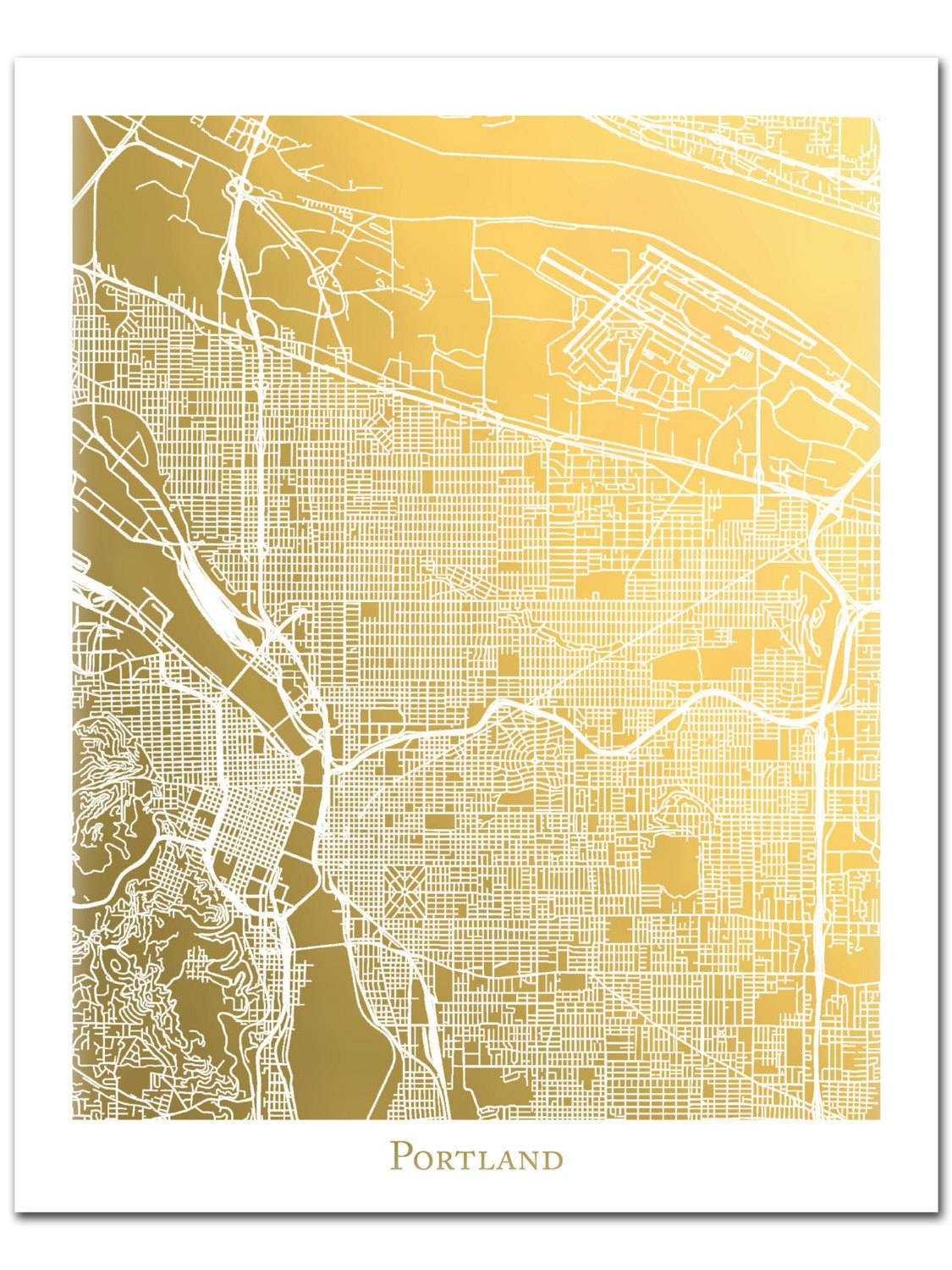 Portland Map Gold Foil Map™ Gold Print Gold Foil Print In Latest Portland Map Wall Art (View 5 of 20)