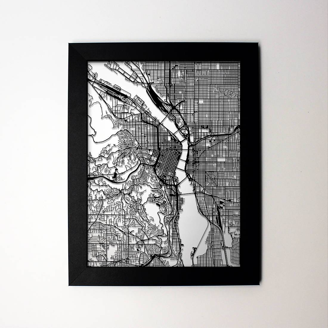 Portland Map Laser Cut Map Portland Oregon Map Of Portland Intended For 2018 Portland Map Wall Art (View 7 of 20)