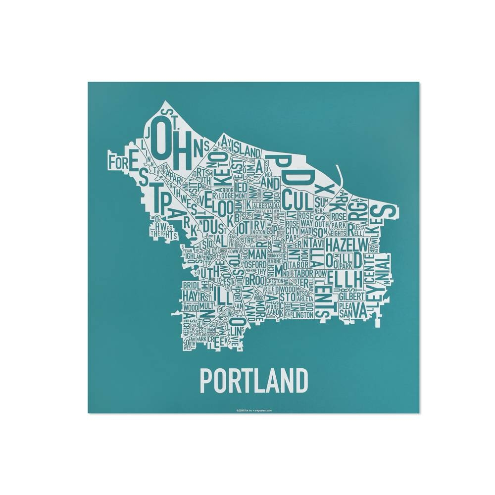 """Portland Neighborhood Map 12.5"""" X  (View 10 of 20)"""