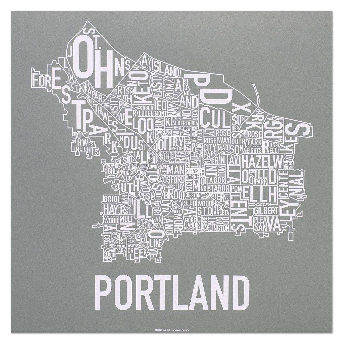 Portland Neighborhoods Map – The Hippest Poster Of Portland In The Inside Most Recently Released Portland Map Wall Art (View 11 of 20)