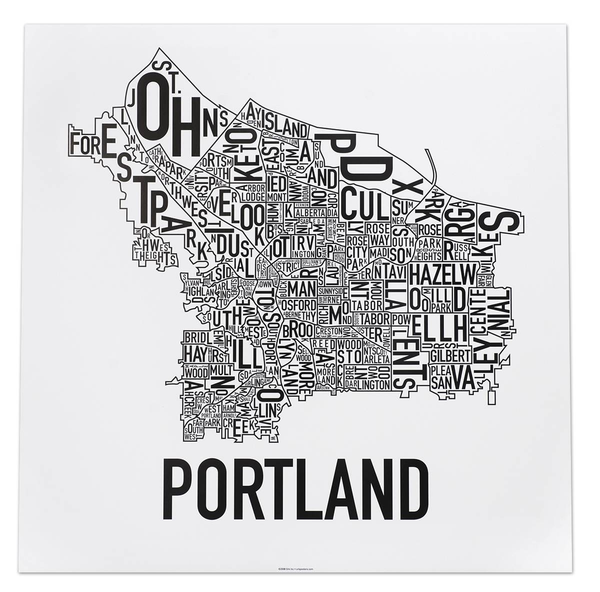 Portland Neighborhoods Map – The Hippest Poster Of Portland In The With Current Portland Map Wall Art (View 12 of 20)