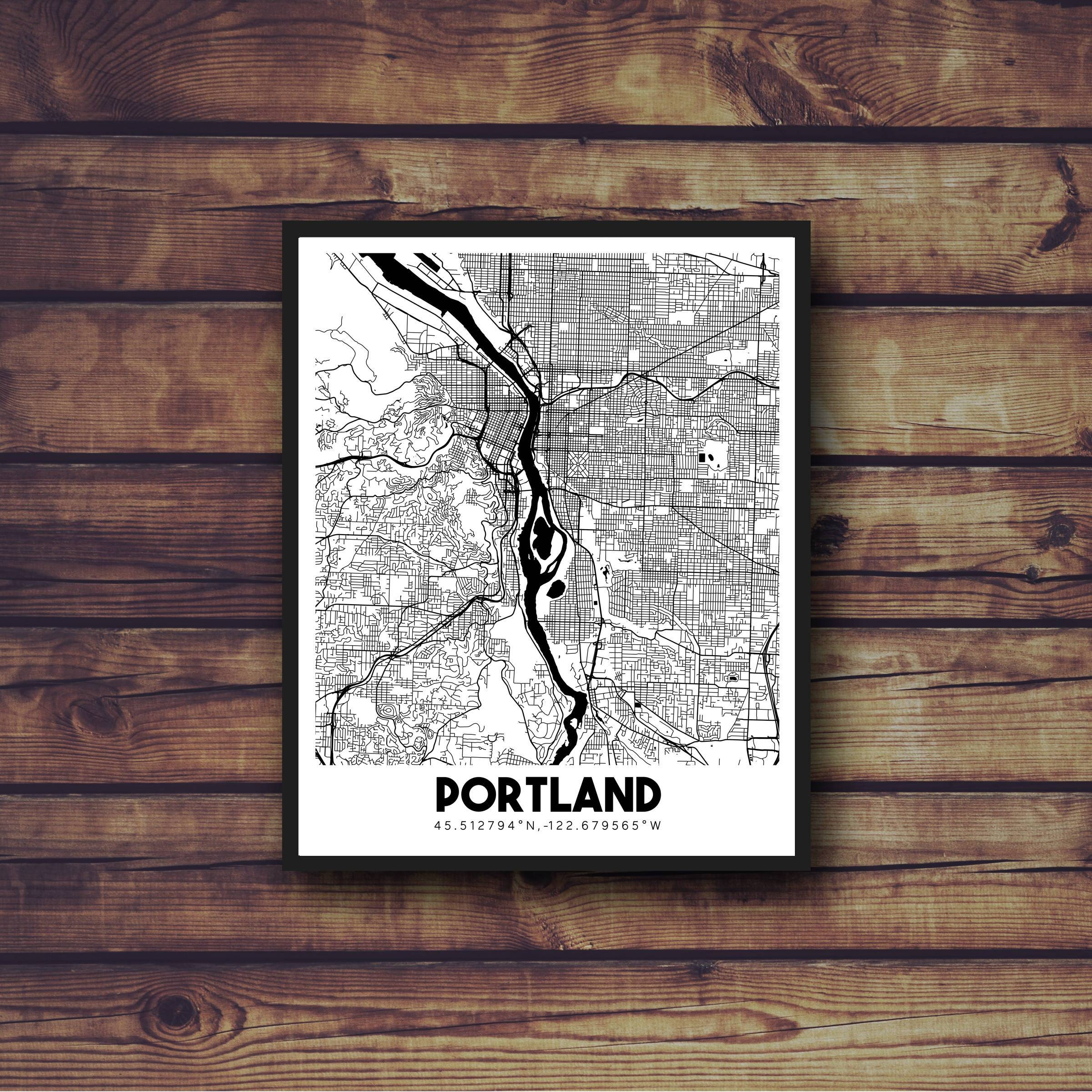 Portland Oregon Downtown Street Map Portland Wall Art With Most Current Portland Map Wall Art (View 15 of 20)