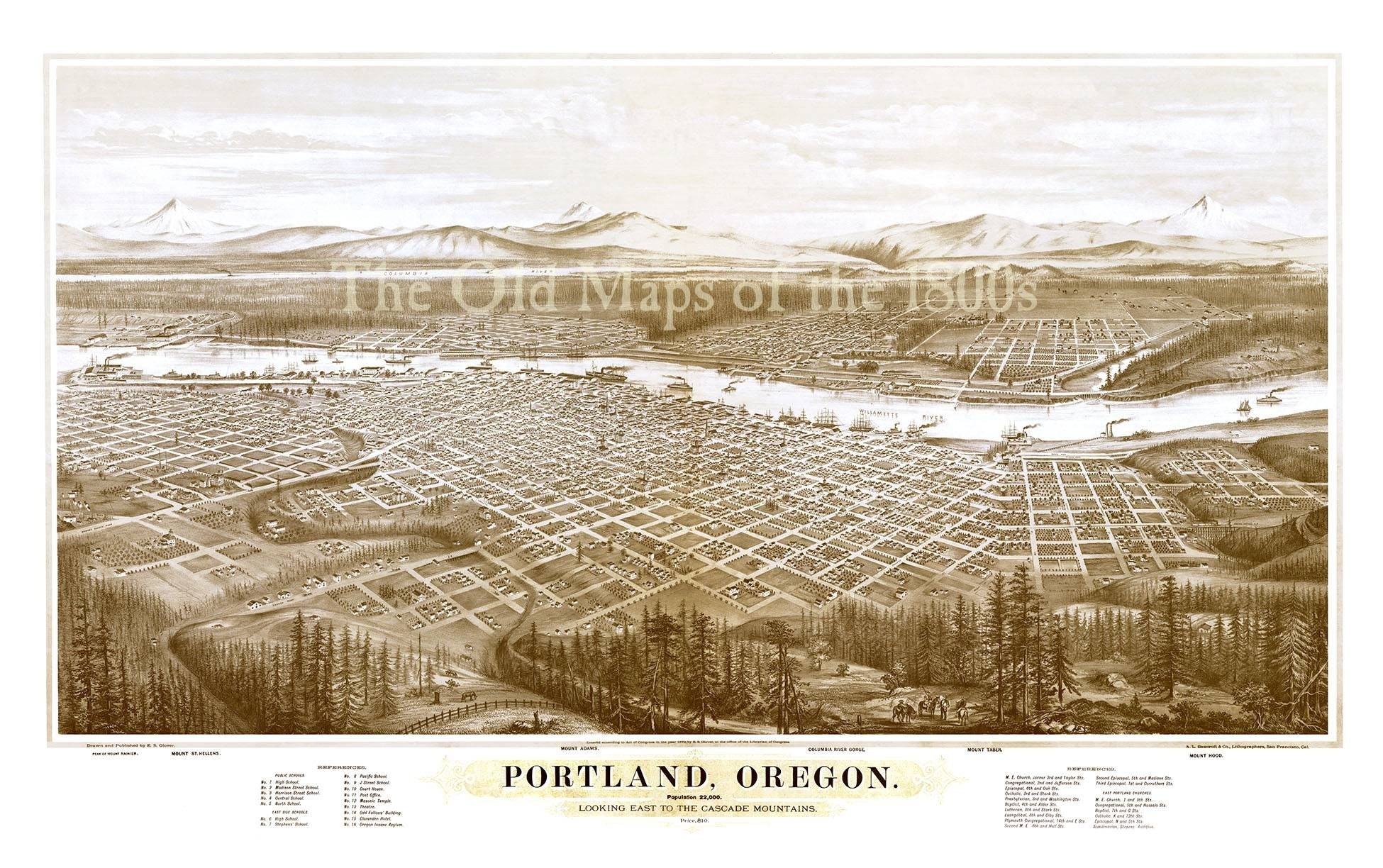 Portland, Oregon In 1879 – Bird's Eye View Map, Aerial Map Intended For Best And Newest Portland Map Wall Art (View 2 of 20)
