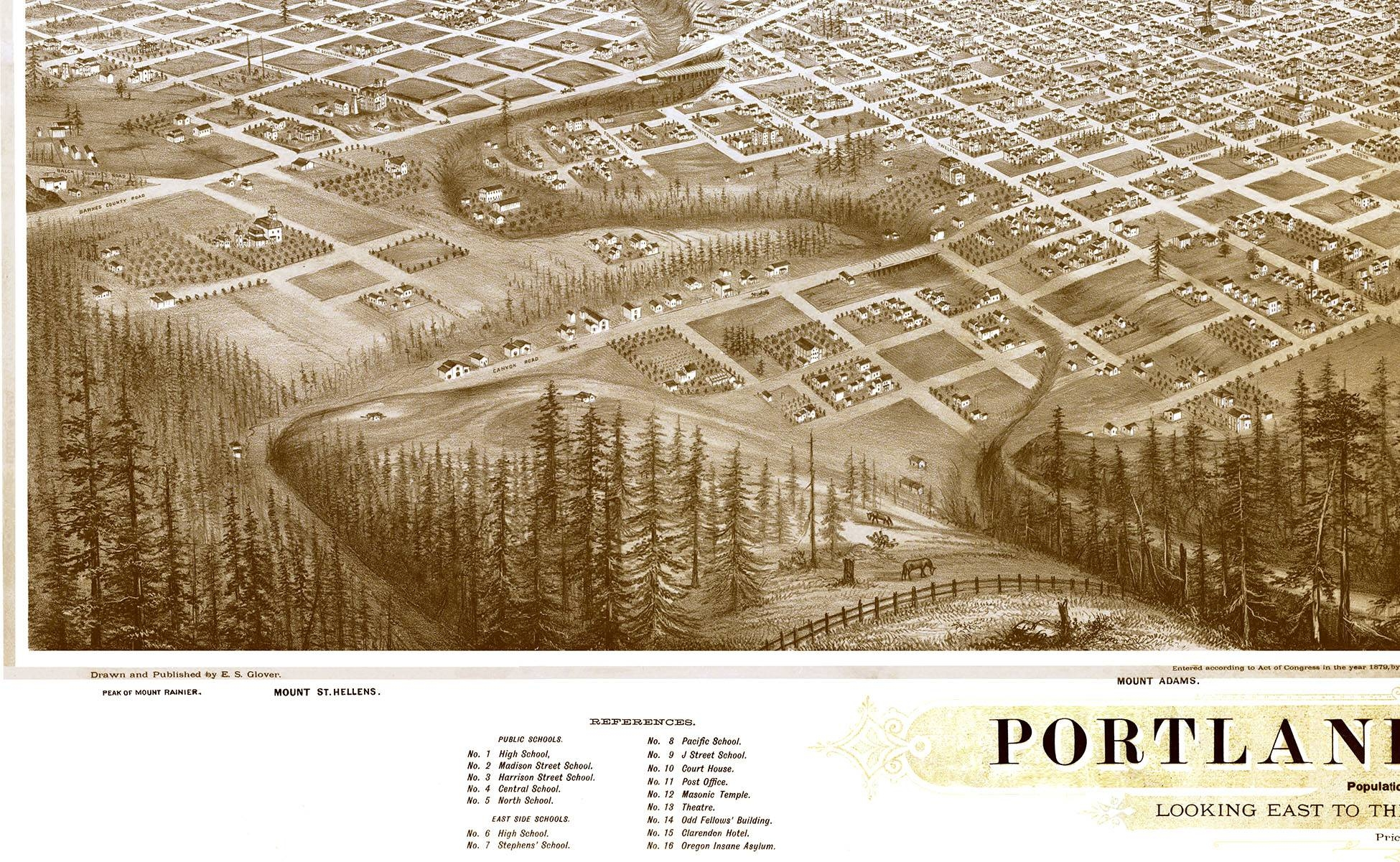 Portland, Oregon In 1879 – Bird's Eye View Map, Aerial Map Intended For Current Portland Map Wall Art (View 17 of 20)