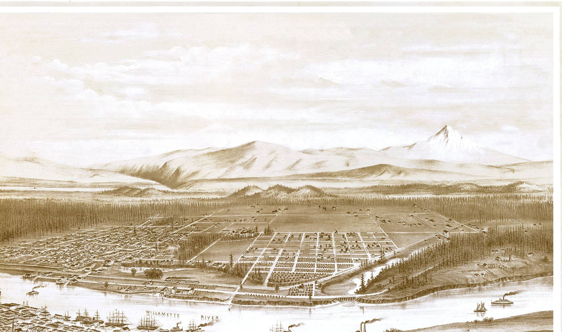 Portland, Oregon In 1879 – Bird's Eye View Map, Aerial Map Throughout 2017 Portland Map Wall Art (View 18 of 20)