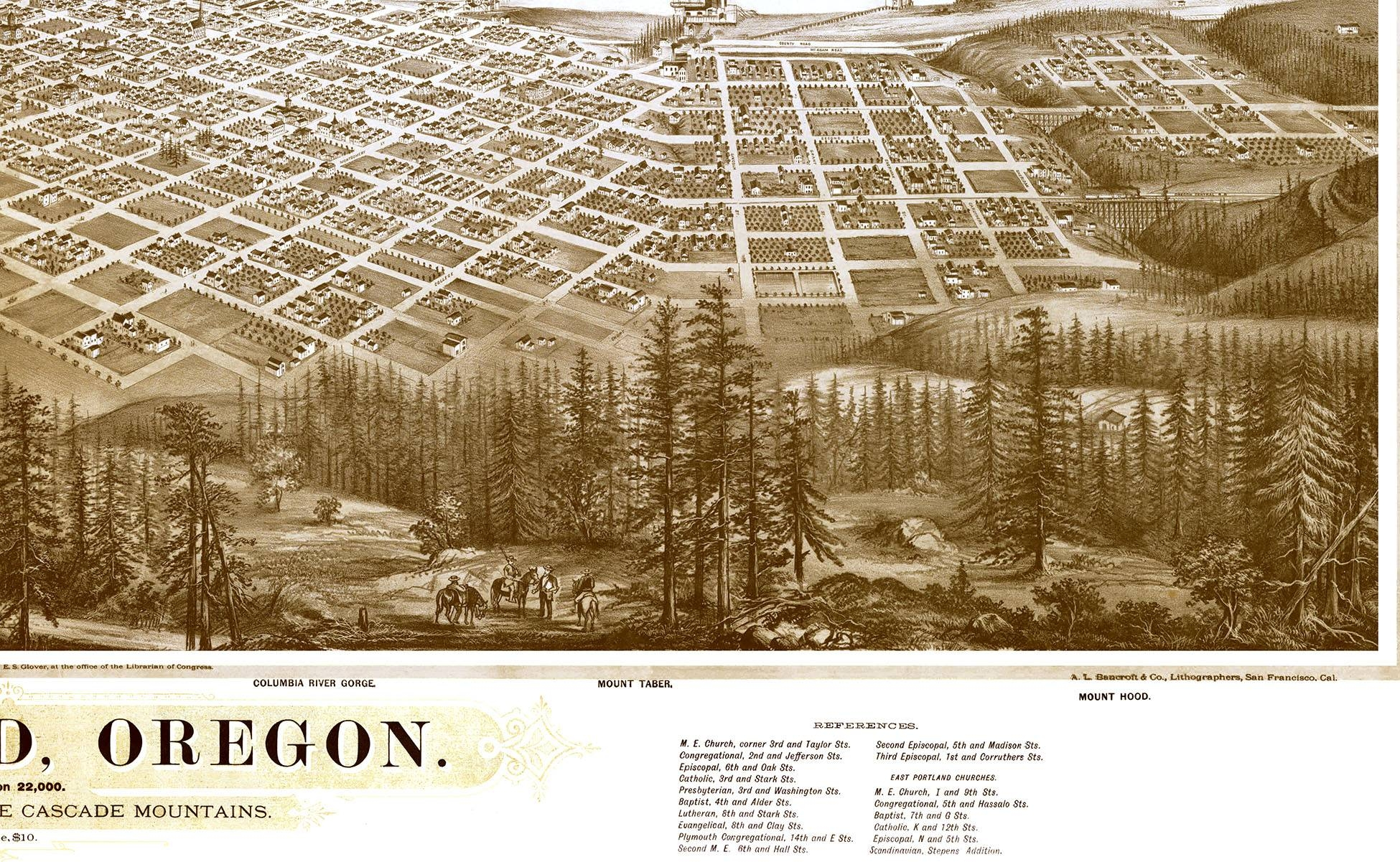 Portland, Oregon In 1879 – Bird's Eye View Map, Aerial Map With Most Recently Released Portland Map Wall Art (View 6 of 20)
