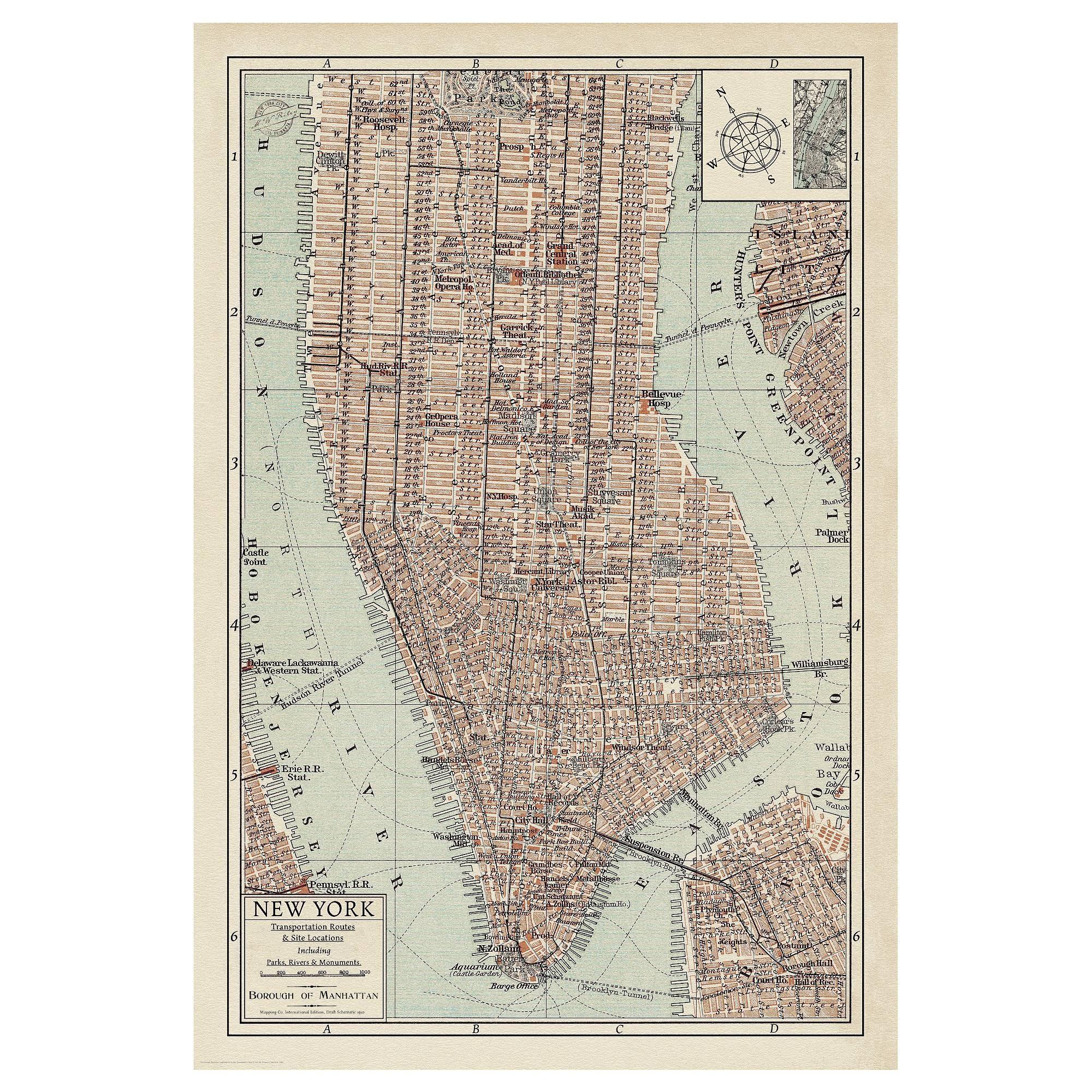 Featured Photo of Manhattan Map Wall Art