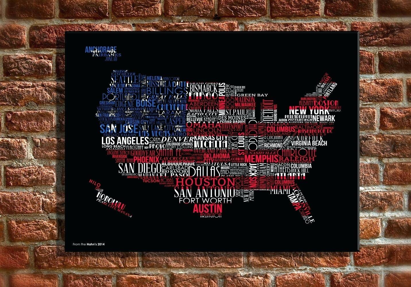 Pottery Barn Usa Map Wall Art Wooden United States Map Wall Art Us Within Most Recently Released Houston Map Wall Art (View 7 of 20)