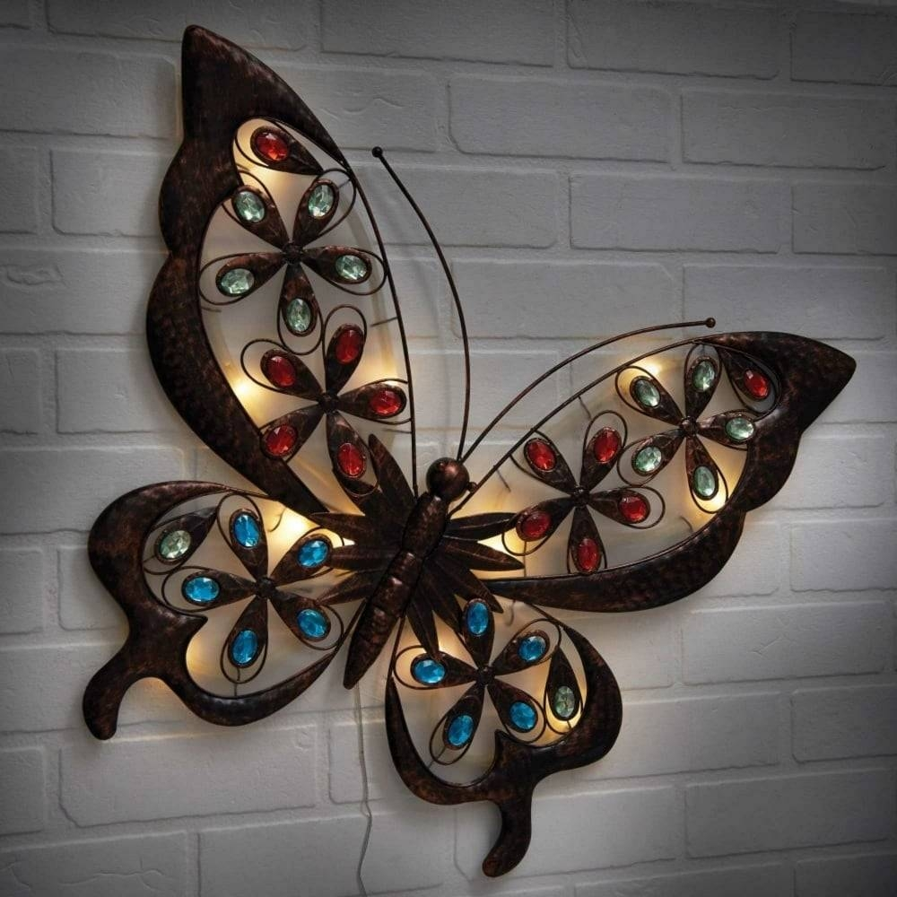 Powertek Large Solar Butterfly Wall Art | Garden Street Inside 2017 Butterfly Garden Metal Wall Art (View 8 of 20)