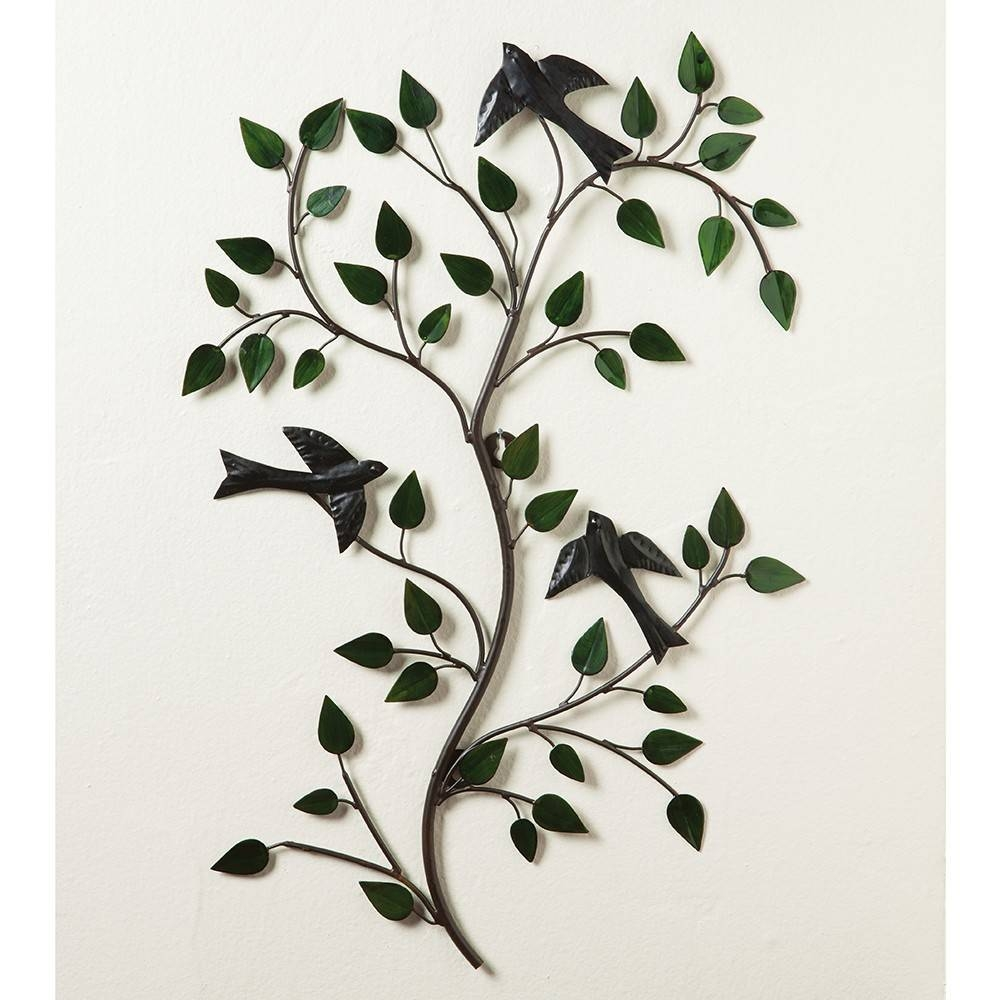 Pressed Metal Branch With Birds Country Wall Art | Sturbridge in Most Up-to-Date Branches Metal Wall Art