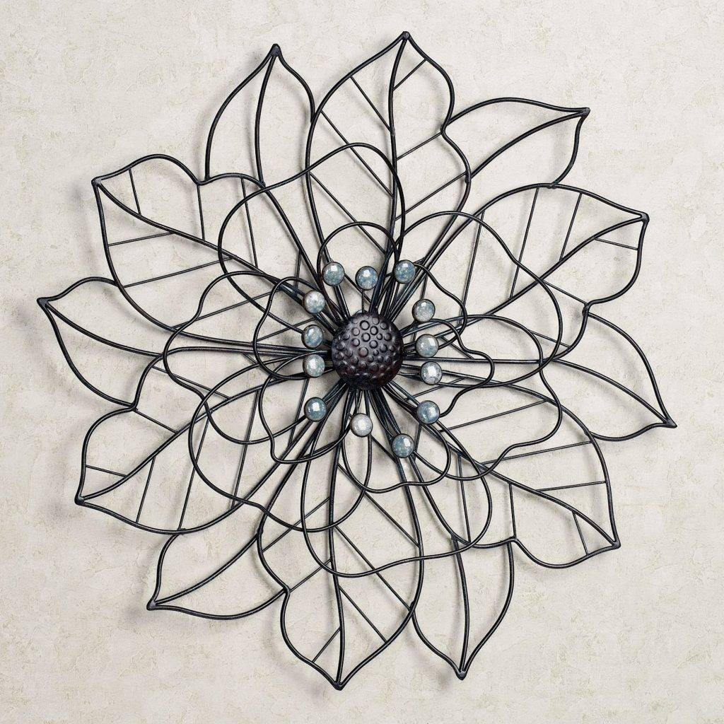 Pretentious Design Flower Metal Wall Art Bronze Blue Brown For 2018 Blue Flower Metal Wall Art (View 8 of 20)