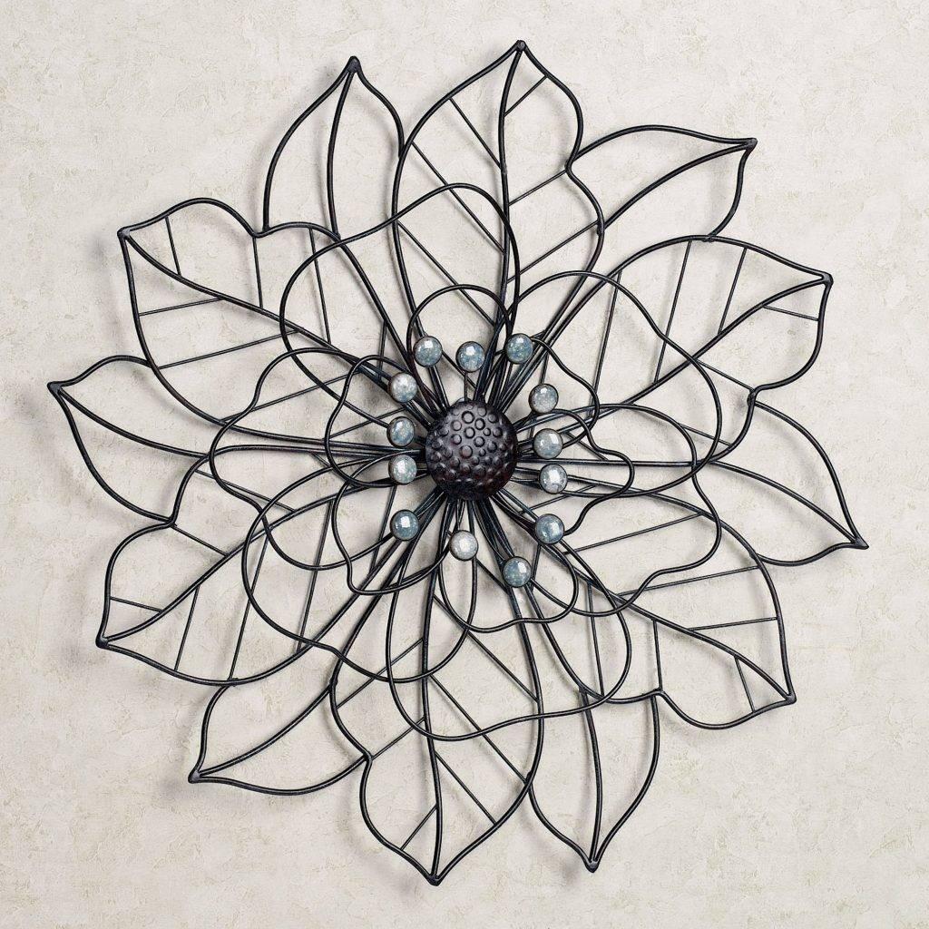 Pretentious Design Flower Metal Wall Art Bronze Blue Brown for 2018 Blue Flower Metal Wall Art