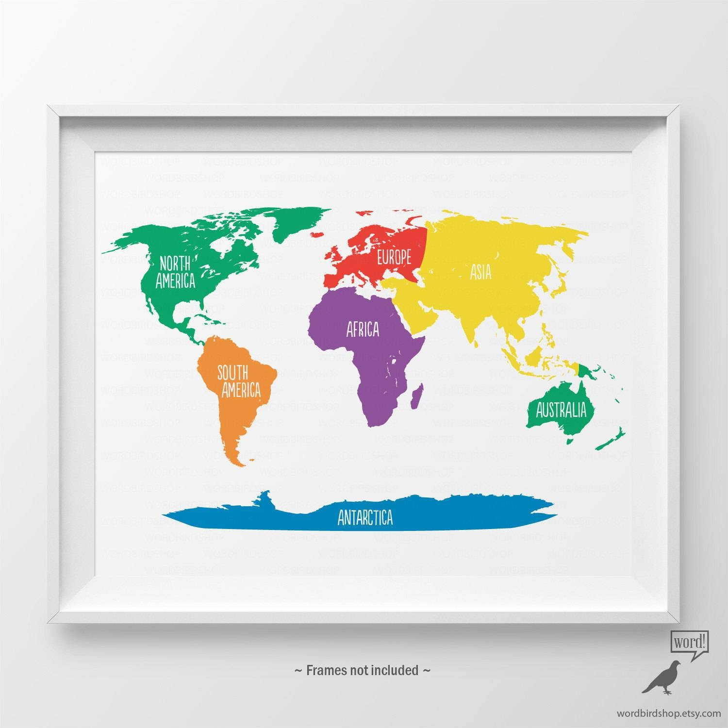 Primary Colors Nursery World Map Kids Wall Art Playroom Wall Throughout Most Popular Kids World Map Wall Art (View 11 of 20)
