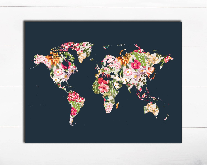 Printable Art Typography Art Print Floral World Map Art Print Inside Most Recent World Map Wall Art Print (View 1 of 20)