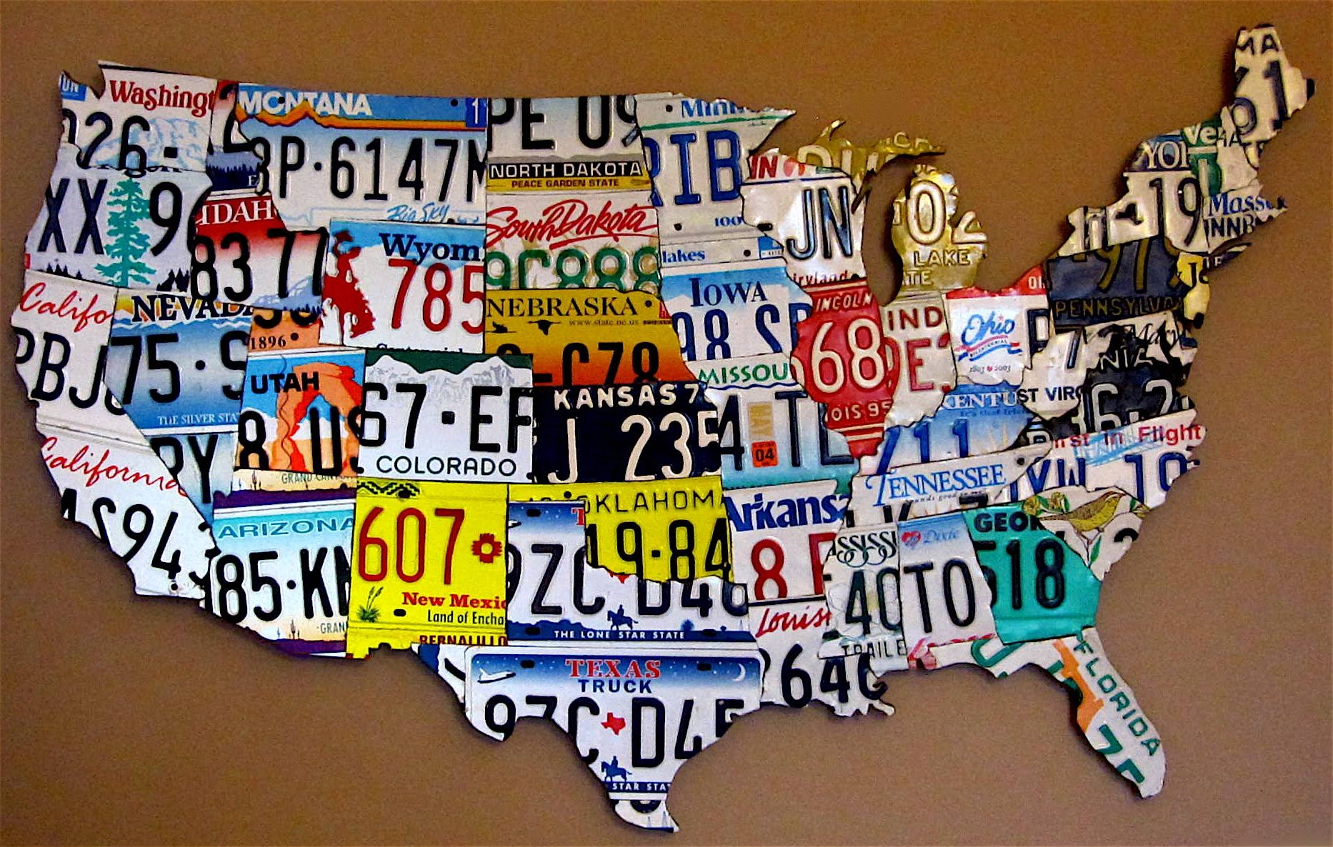 Purchase License Plate Art And Mapsdesign Within Usa Map Print Pertaining To Most Popular License Plate Map Wall Art (View 15 of 20)