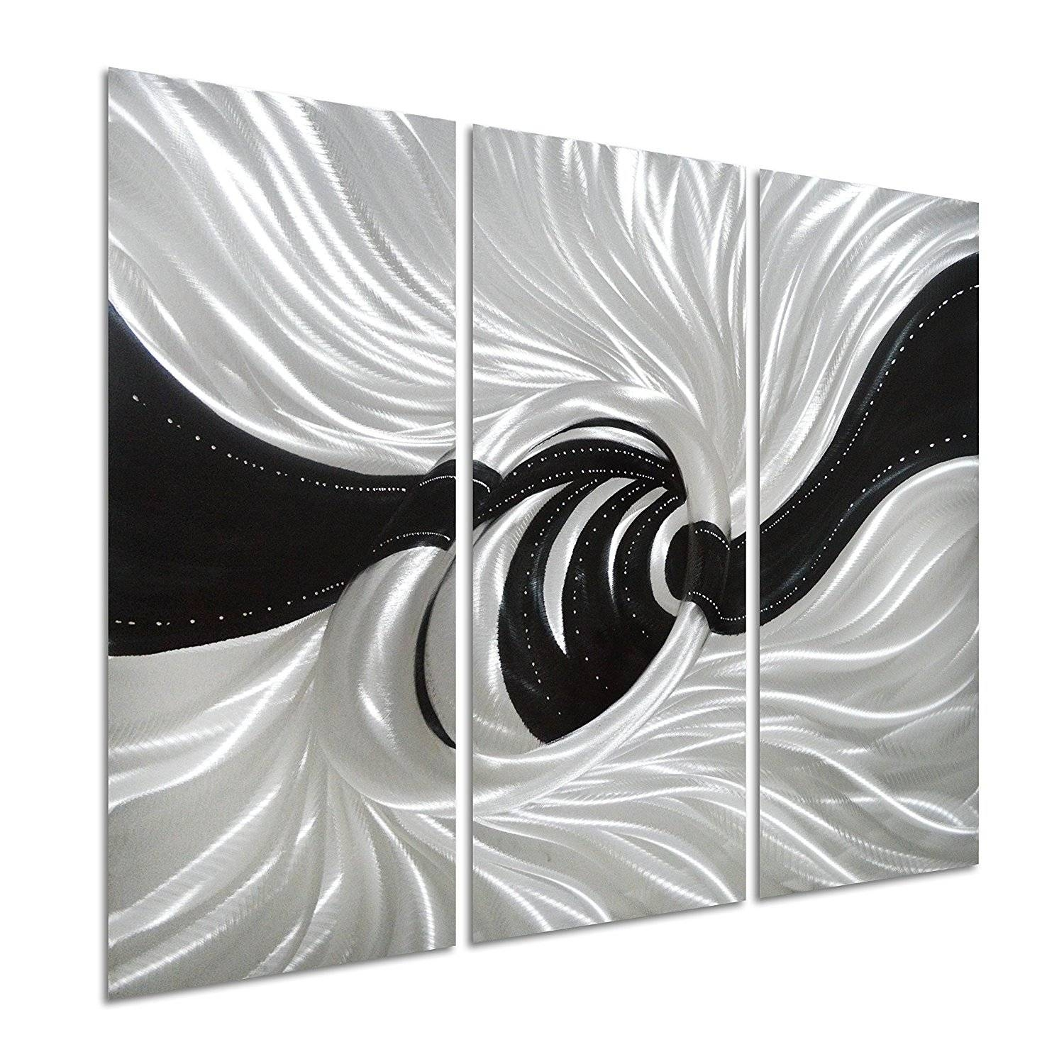 Pure Art Silver Worm Hole – Abstract Metal Wall Art Decor Of 3 Intended For Recent Silver Metal Wall Art (View 9 of 20)