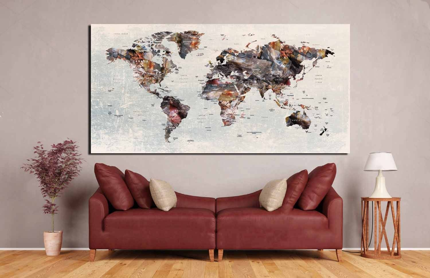 Push Pin World Map,push Pin Map Wall Art,push Pin Map,travel Map With Regard To Most Popular Travel Map Wall Art (View 15 of 20)