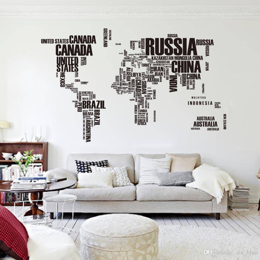 Pvc Poster Letter World Map Quote Removable Vinyl Art Decals Mural Throughout Most Recent Cool Map Wall Art (View 10 of 20)