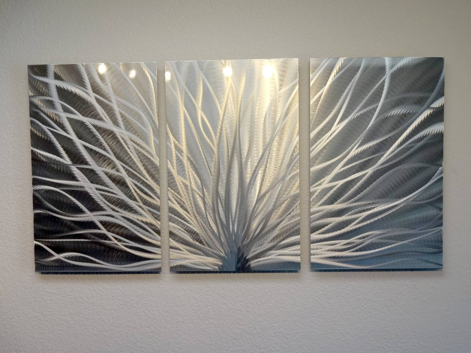 Radiance – 3 Panel Metal Wall Art Abstract Contemporary Modern For Latest Metal Wall Art Panels (View 6 of 20)