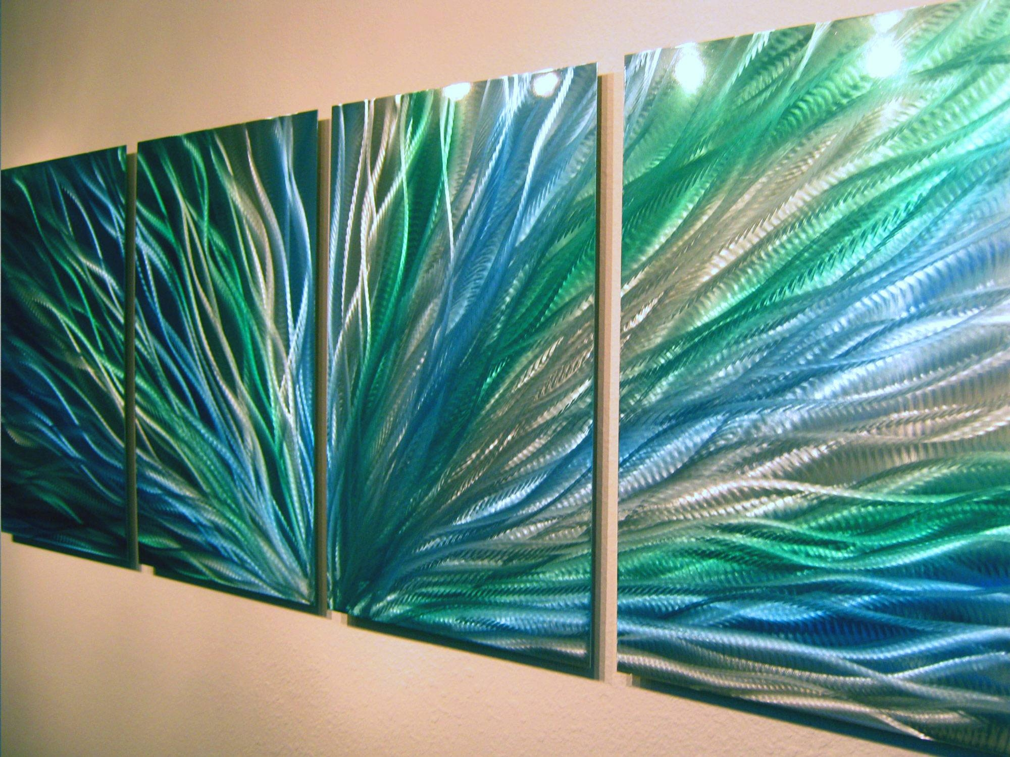 Radiance Blue Green Abstract Metal Wall Art Contemporary Modern In Newest Green Metal Wall Art (View 3 of 20)