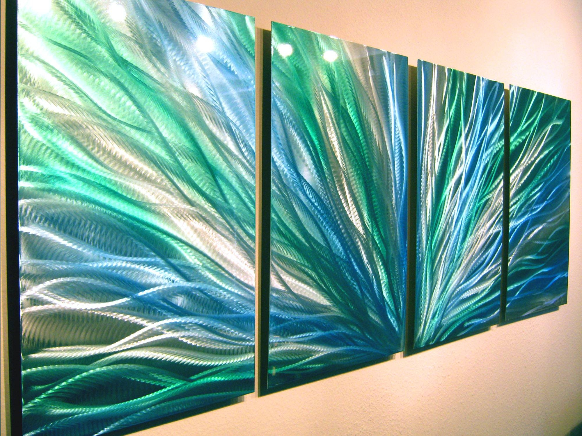 Radiance Blue Green Abstract Metal Wall Art Contemporary Modern Within Latest Blue Metal Wall Art (View 18 of 20)