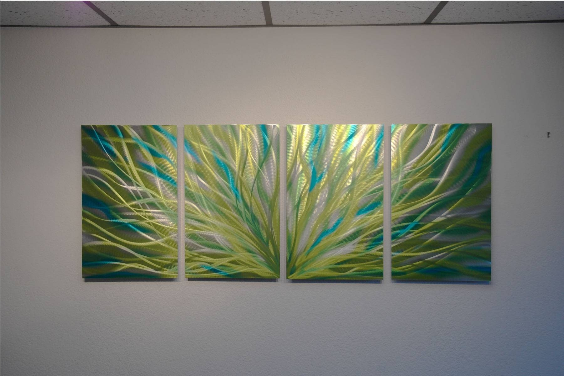 Radiance Cyan Chartreuse – Abstract Metal Wall Art Contemporary In Most Recent Abstract Metal Wall Art (View 7 of 20)
