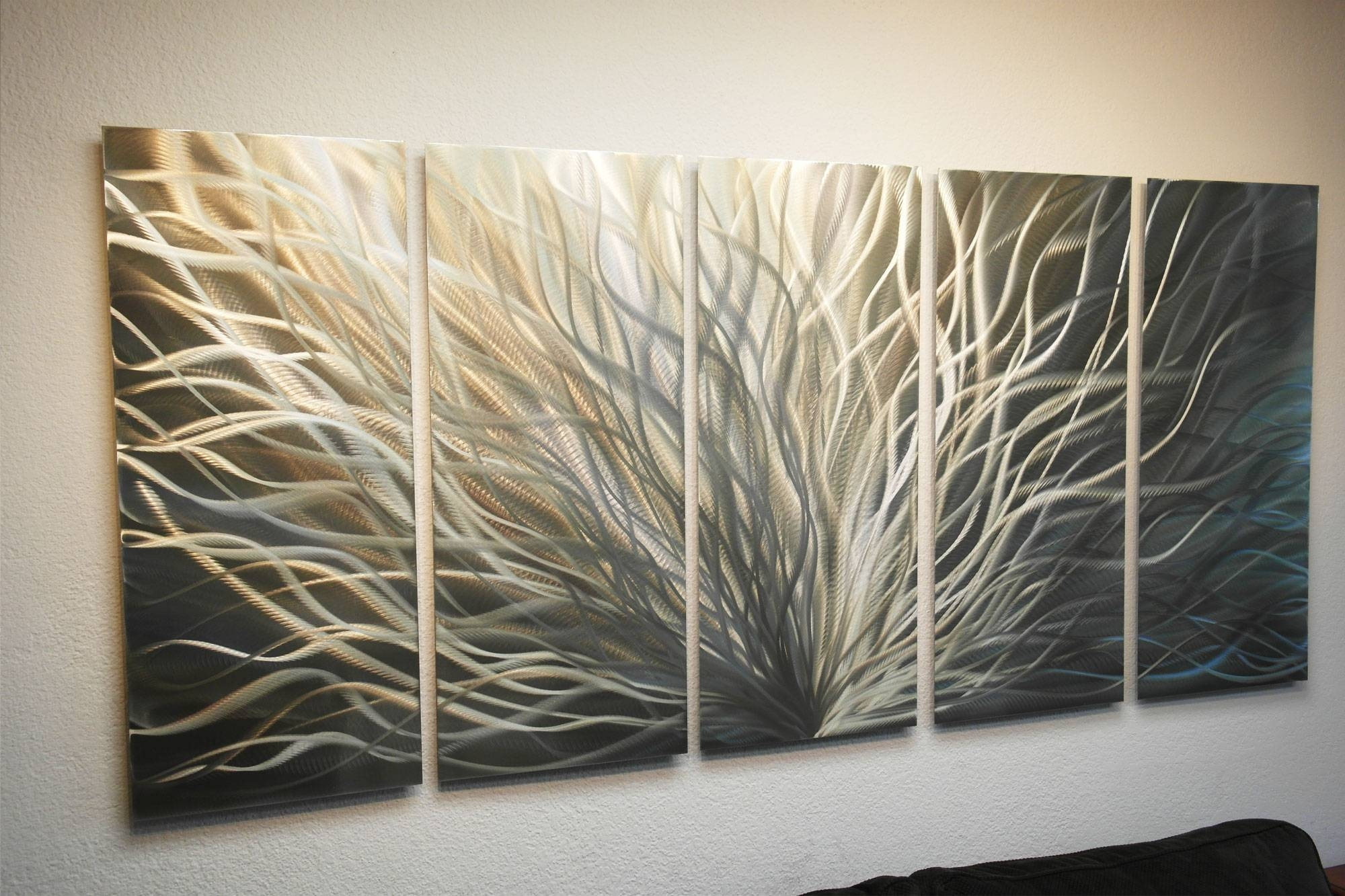 Radiance Gold Silver 36x79 – Metal Wall Art Abstract Sculpture Within Latest Silver Metal Wall Art (Gallery 13 of 20)