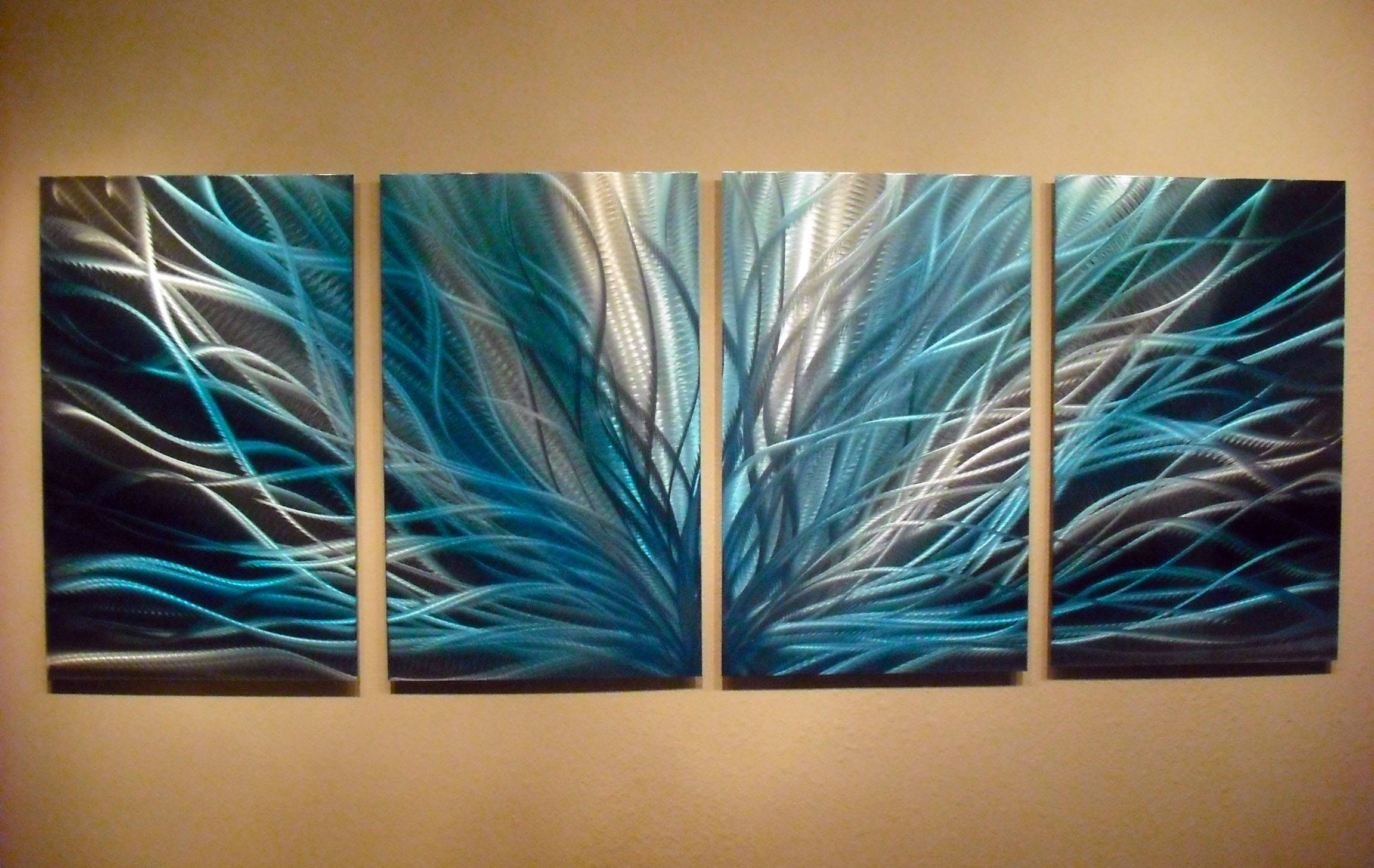Radiance In Blues Abstract Metal Wall Art Contemporary Modern With Regard To 2017 Teal Metal Wall Art (Gallery 1 of 20)