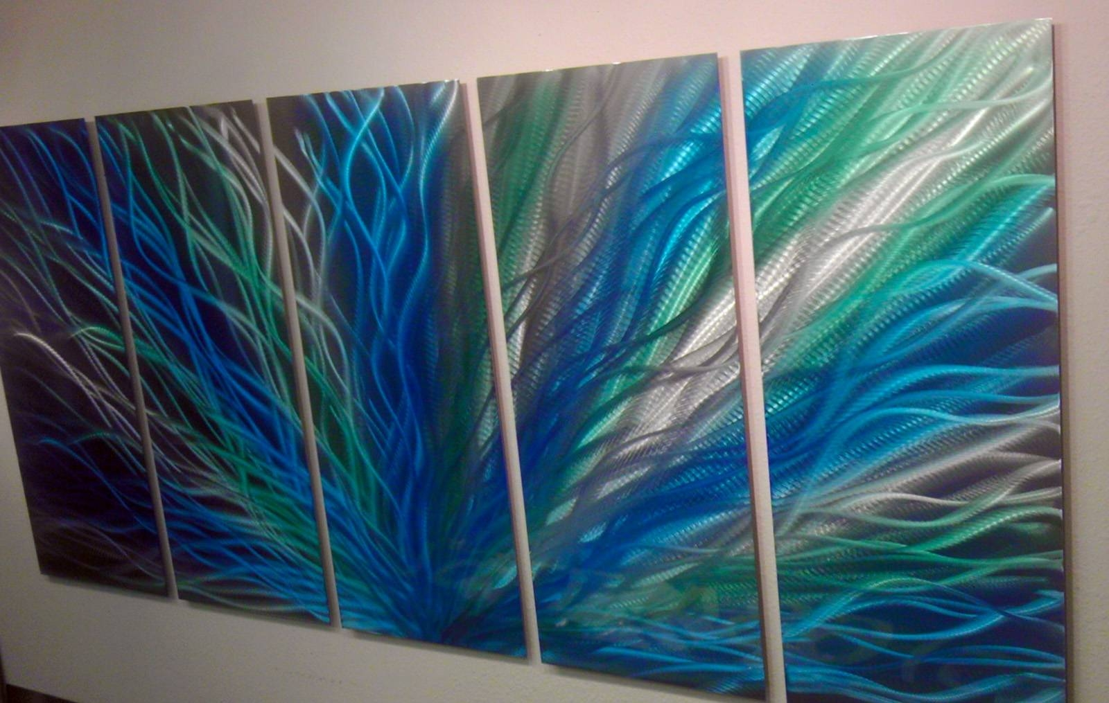 Radiance Large, Green Blue Metal Wall Art Contemporary Modern For Most Recent Blue Metal Wall Art (Gallery 6 of 20)