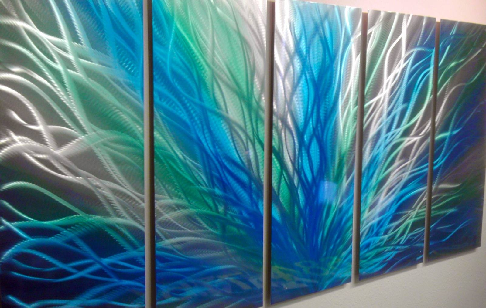 Radiance Large, Green Blue  Metal Wall Art Contemporary Modern Regarding Current Blue Metal Wall Art (Gallery 13 of 20)