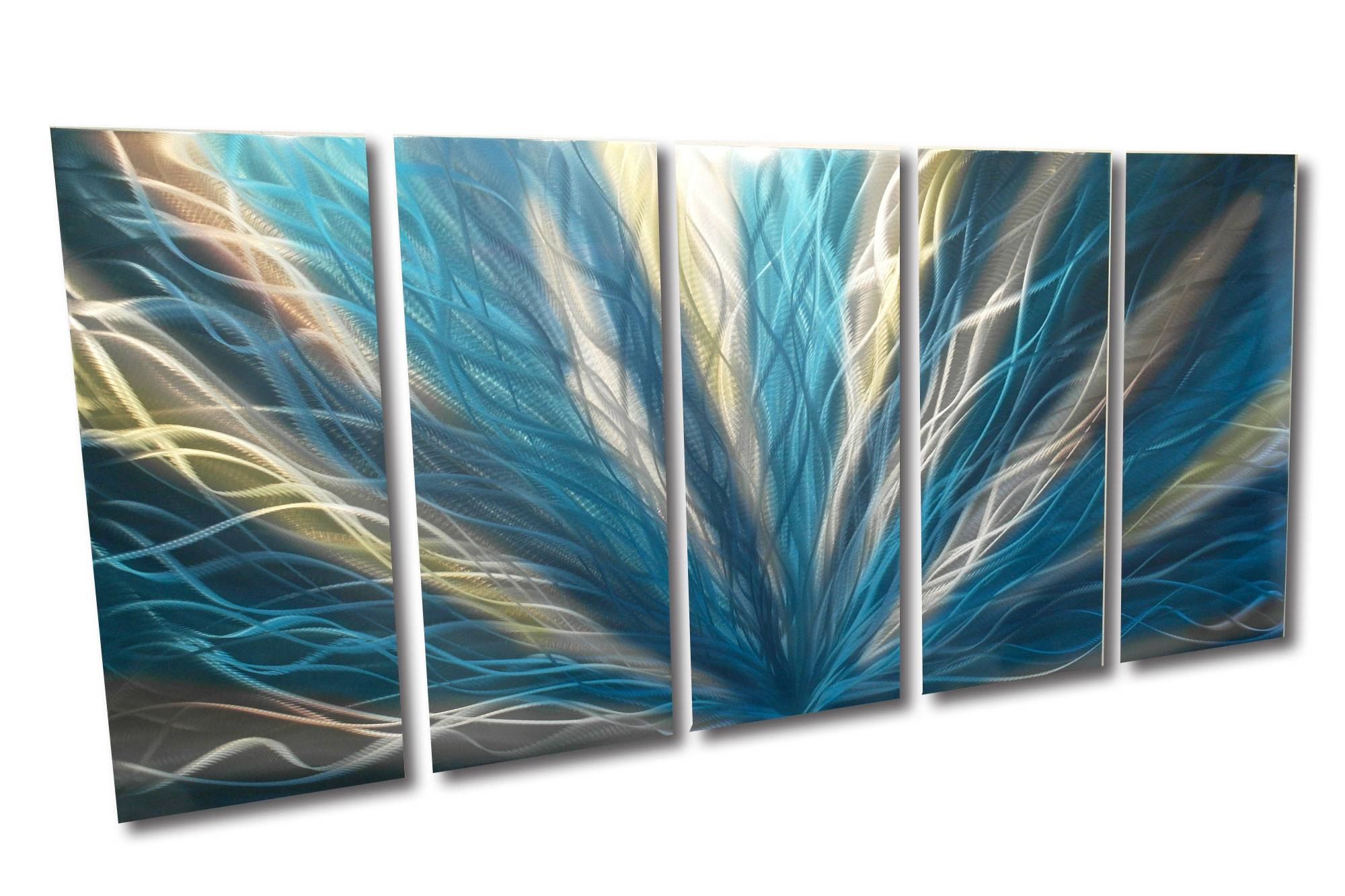 Radiance Teal 36X79 – Metal Wall Art Abstract Sculpture Modern Throughout Most Current Teal Metal Wall Art (Gallery 4 of 20)