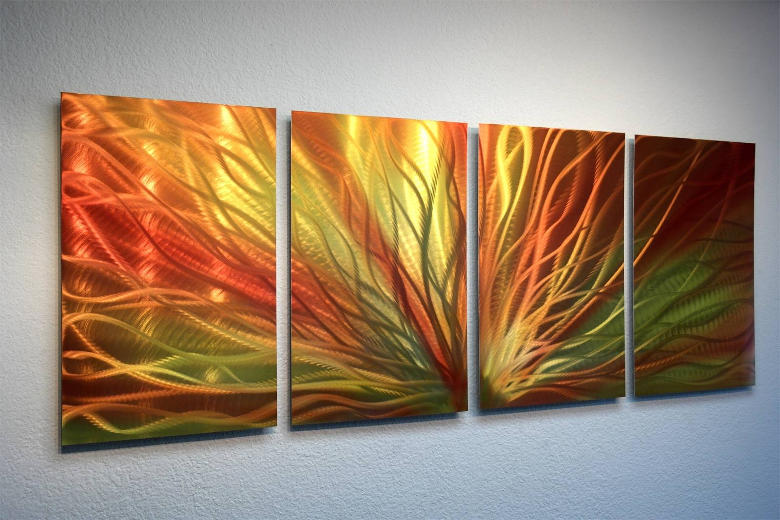 Radiant Sunrise Metal Wall Art Abstract Contemporary Modern Decor With Regard To 2017 Orange Metal Wall Art (View 2 of 20)