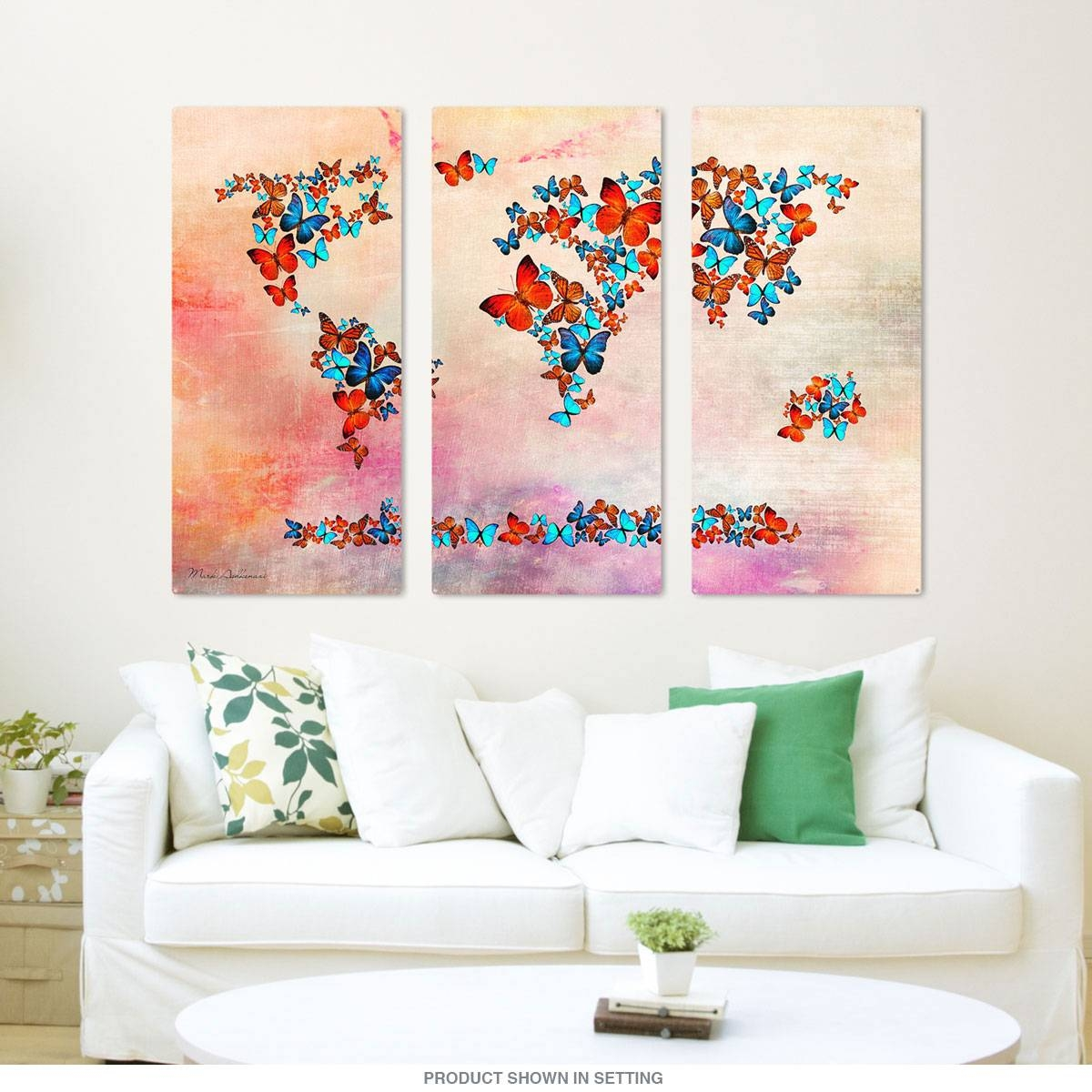 Rainbow Butterfly World Map Triptych Metal Wall Art | Large Sign Intended For 2018 Butterfly Map Wall Art (Gallery 7 of 20)