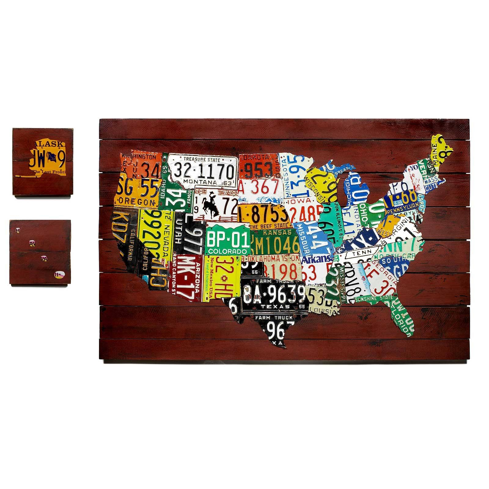 Reclaimed License Plate Map | Decorative Us License Plate Map Within Most Up To Date License Plate Map Wall Art (Gallery 4 of 20)